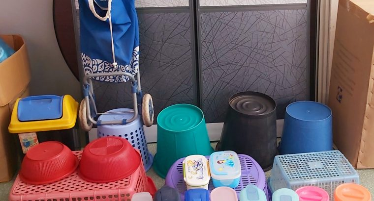 Clocks,Shopping stroller,Plastic boxes , buckets and dustbins